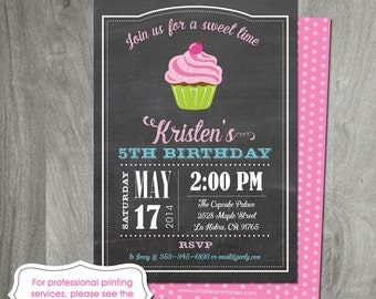 Cupcake Party Invitation, Digital File, Custom Birthday, Personalized, Chalkboard, Cupcake Decorating, Double Sided