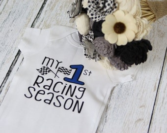 My First Racing Season Bodysuit perfect for a race car themed baby shower or car themed first Birthday Party.  Race Season shirt for babies