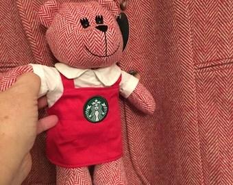 herring bone suit size 12 Starbucks design includes matching Starbucks bear!