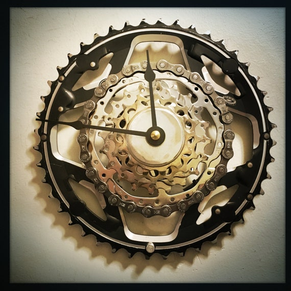 Bike Design Wall Clock : Bicycle wall clock industrial decor cyclist gift steampunk
