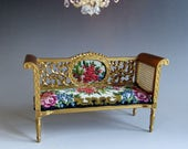 112th Scale  Dolls House  Beautiful Gilded Bench Sofa with Antique Micro Petit Point
