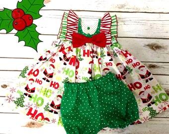 Christmas HI-Lo Ruffle Dress w/bloomers, Toddler Christmas dress, Holiday dress, Toddler dress