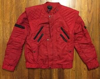 80s jacket Parachute red nylon black zippers Michael Jackson break dancing Bugle Boy fashion shoulder pads