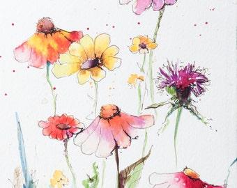 Watercolor Wildflowers 1 ORIGINAL