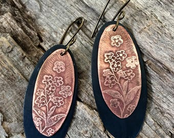 Etched Copper Dangle Earrings