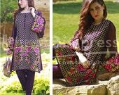 Needle Impressions cotton net kurti, beige kurti, short tunic, peplum shirt, criss cross gold embroidery