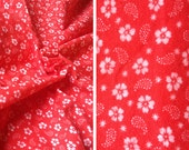 Fabric destash sale   Vintage cotton flannel fabric remnant, red and white floral print