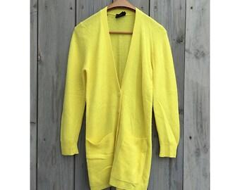 Vintage sweater | 1980s Pierre Cardin daffodil yellow lambswool angora boyfriend sweater