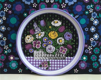 Vintage Pat Albeck Purple Floral Tray Kitsch