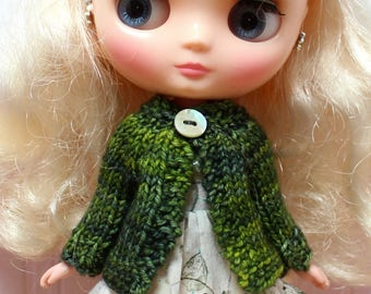 BLYTHE Middie doll hand knit wool cardigan sweater - ivy green