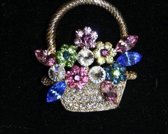 Vintage OTC Rhinestone Basket of Flowers Brooch Pin
