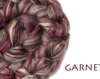 Blended top - Merino - Flax - natural Tussah silk - 100g/3.5oz - GARNET