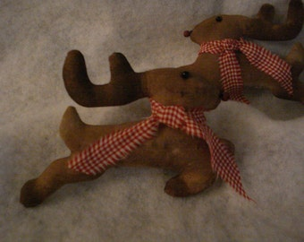 Set of Four Primitive Reindeer Ornies