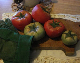 Primitive Set of Five Fresh Home Grown Tomatoes