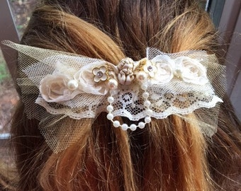 Handmade Barrette With A Guardian Angel lace and Pearls