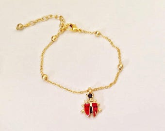 Red Ladybird Charm Bracelet, Kids Ankle Bracelet, Ladybug Charm Anklet Bracelet, Kids Jewelry, Toddler Jewelry, Jewelry, Children Jewelry