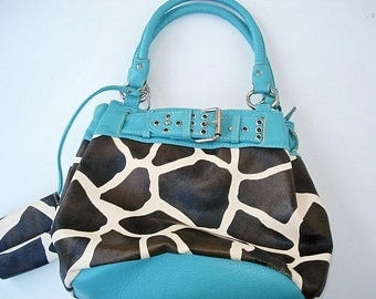 Turquoise Black and White Purse, Black and White Purse Womans Blue Purse Colorful, Ladies Bag,