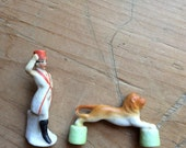 Circus Figurines Vintage Birthday Candle Holder Lion & Tamer