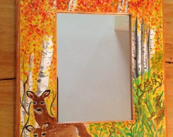 hand painted mirror, autumn in colorado