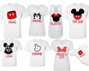 Mickey & Minnie Disney Custom Family Shirts Disneyland Disneyworld family trip vacation - matching shirts tshirts with custom names