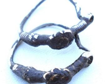 Antique Belly Dance Tribal Old Silver Hoop Earring Pair