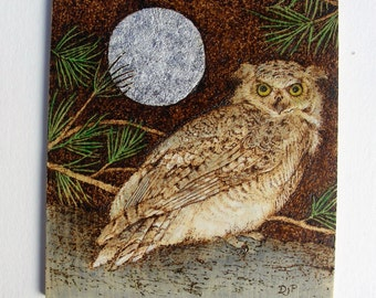 Pyrography - Woodburning - Owl and the Full Moon