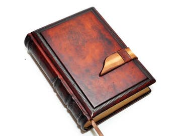 Brown leather journal antique style, blank notebook, secret diary, traveler journal, gift for her, gift for him 8.1''x5.7'' (20,5x14,5 cm)