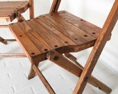 RESERVED Set of 4 Vintage Wood Slat Folding Chairs Art Deco Oak Seating