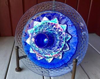 """Repurposed Glass Flower, Sun Catcher Glass Garden Art - """"Tomi"""" Crystal IRIDESCENT Blue Glass Flower, Made from Glass Plates"""
