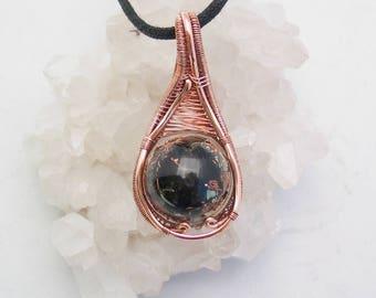 Orgone Wire Wrapped Pendant Shungite Black Tourmaline Selenite Pyrite Quartz Copper