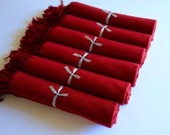 6 Burgundy Pashmina Scarves for Bridesmaids and Guests, Warm Burgundy Bridal Wrap and Gift Keepsake, Burgundy Pashminas, Wedding Shawl red