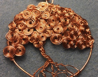 "Copper Tree of Life Pendant, with swirls taking the place of leaves on the branches.  Pendant is 2"" long.  All hand shaped and hammered"