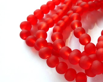 50 Red Frosted Glass Beads 6mm - 29-8