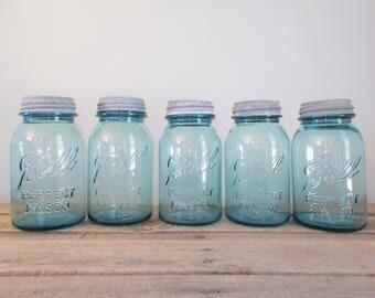 Vintage Aqua Ball Perfect Mason Canning Jars With Zinc Lids - Lot of 5