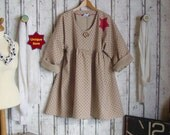 Linen Prairie red dots, Plus sizes- US 18 - 24, UK 20 - 26, Shirt/ Tunic Oversized,European Layering Look