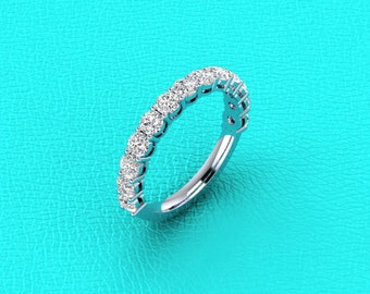 14K white gold shared prong double gallery diamond band.