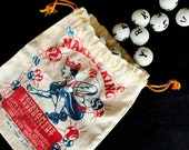 Vintage Marble King Marble Bag   Cloth Drawstring Bag   Vintage Graphics   Collectible Marble Bag   Display   Prop