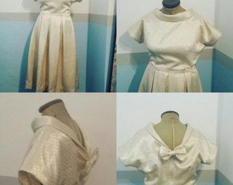 Cream satin evening or wedding dress to vintage 50's pattern UK 12 US 8