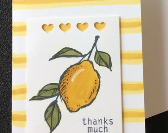 Thank you, Friendship, Lemons, Hearts, Stripes, Handmade, stampin up
