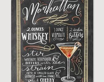 Manhattan   Manhattan Drink Recipe   Chalkboard Sign   Art Print   Kitchen  Decor   Chalkboard