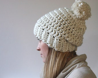 White slouch crocheted hat with pom pom