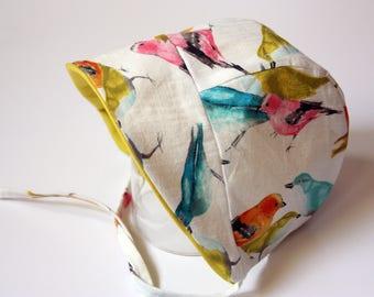 Baby Bonnet, Baby Sun Bonnet, Brimmed Bonnet, Spring Bonnet, Summer Baby Bonnet, Bird Bonnet, Made to Order