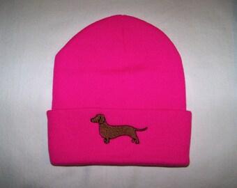 Dachshund Bright Pink Beanie - Cap - Hat