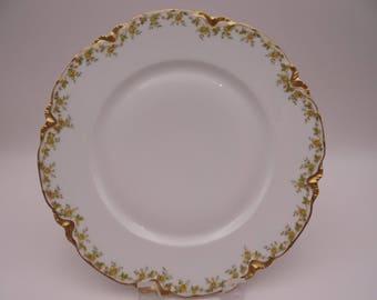VIntage 1900s Haviland & Co  Limoges Yellow Rose France Dinner Plate