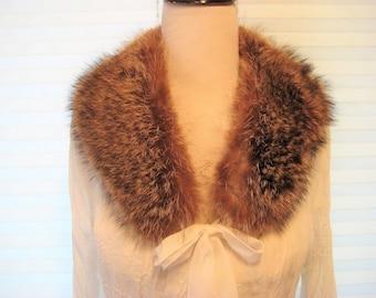 Long hair real fur coallr, brown hair fur collar, genuine fur collar, mid century, 50s 60s