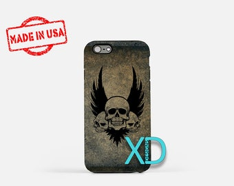 Skull Phone Case, Skull iPhone Case, Tattoo iPhone 7 Case, Black, Tattoo iPhone 6 Case, Skull Tough Case, Clear Case, Three Skulls, Ink