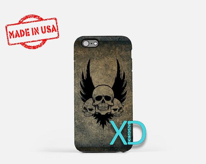 Skull Phone Case, Skull iPhone Case, Tattoo iPhone 7 Case, Black, Tattoo iPhone 8 Case, Skull Tough Case, Clear Case, Three Skulls, Ink
