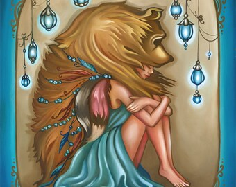 Never Alone Print, Surreal, Whimsical, Bear Headdress, Wall Art 11x14