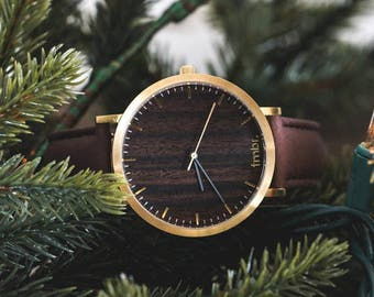 Custom Engraved Watch, Walnut Wood Gold Watch, Brown Leather Strap Watch - CSTM-HELM-WG