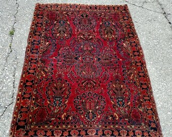 YEAR END CLEARANCE Persian Rug - 1920s Hand-Knotted Antique Sarouk Persian Rug (3400)
